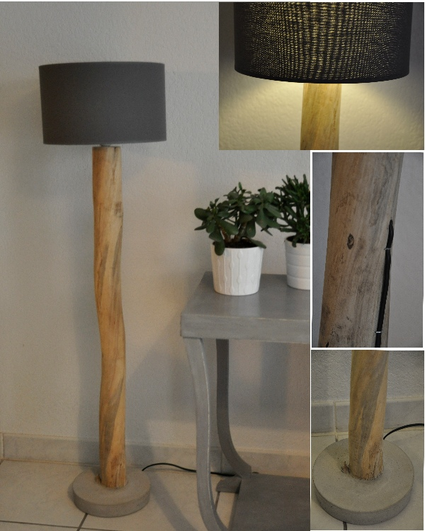 lampadaire en bois flott et abat jour gris boutique. Black Bedroom Furniture Sets. Home Design Ideas
